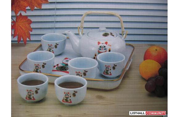 100% Brand New Japanese Style Porcelain Teapot Set with Plastic Tray