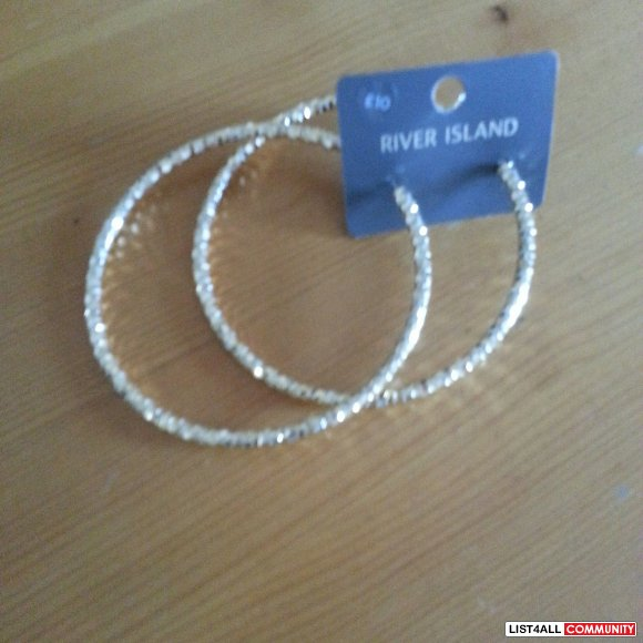 Brand new over sized River Island hoops earrings