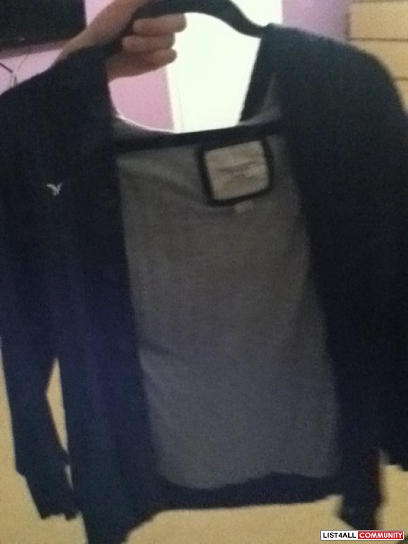 American eagle cardigan with hood sz m