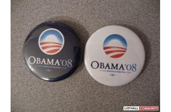 Barack Obama Official Campaign Buttons, choose black or white