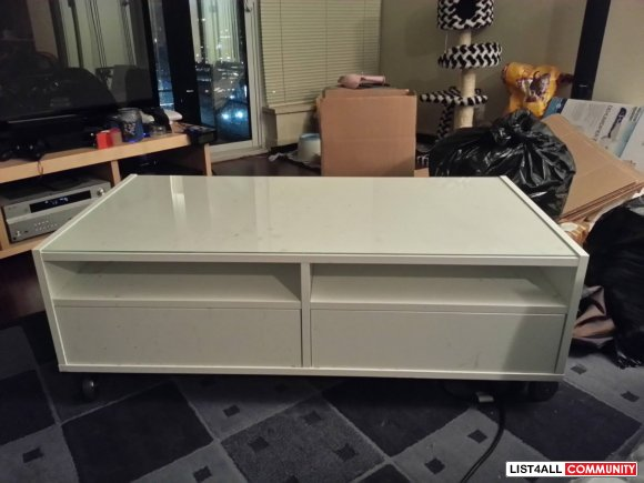 Ikea Boksel Multi Storage White Coffee Table With Casters