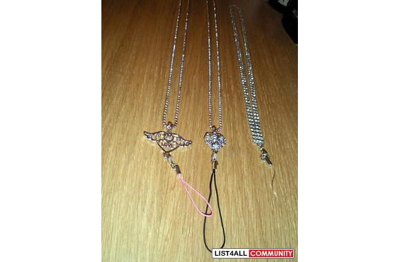 :::CRYSTAL CELL PHONE NECKLACE CHAINS:::