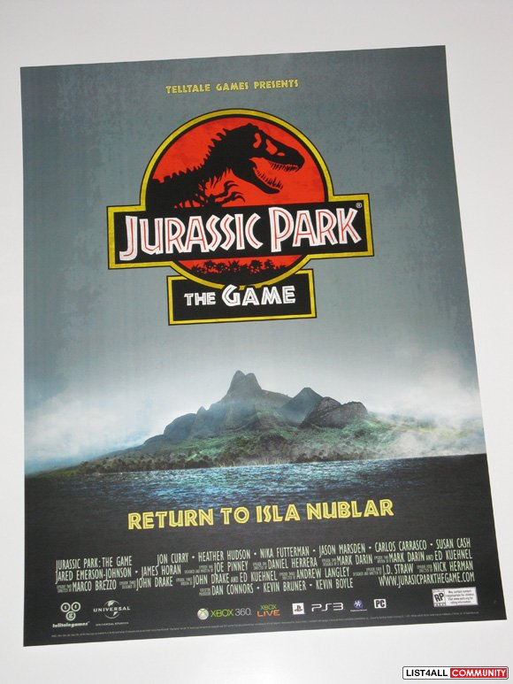 Jurassic Park Game Promotional Poster Tell Tale Games PAX Prime 2011