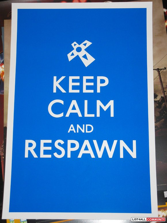 Keep Calm and Respawn Penny Arcade Print (Blue Version)