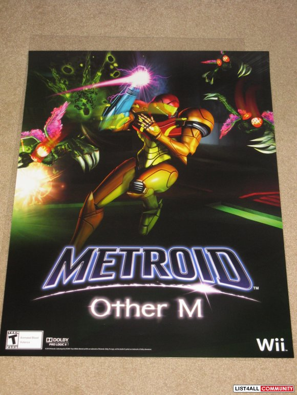 Metroid Other M Game Poster Nintendo Promo Swag PAX Prime 2010 *