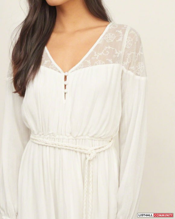 NWT Abercrombie and Fitch lace panel tie waist dress XS