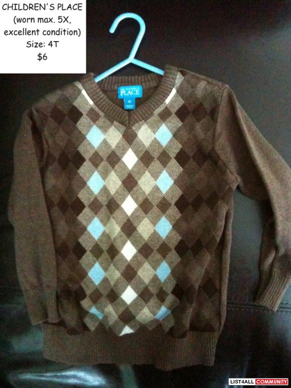 Children's Place boys sweater - excellent condition - Size 4T
