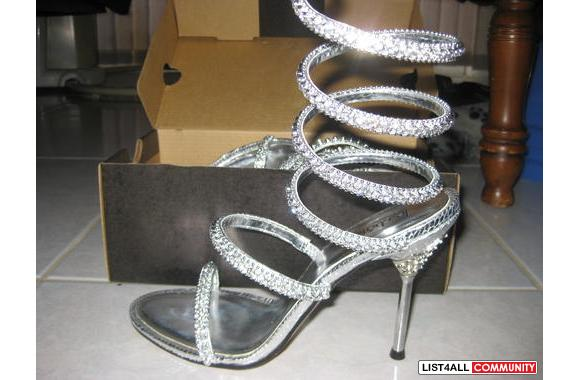 Beautiful silver rhinestone heels with lotz of bling from le chateau t