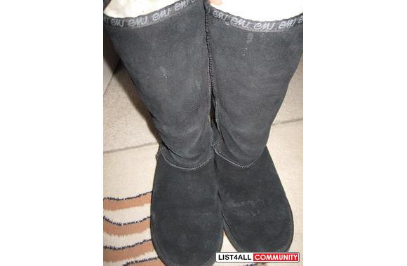 Black Tall Emu Boots