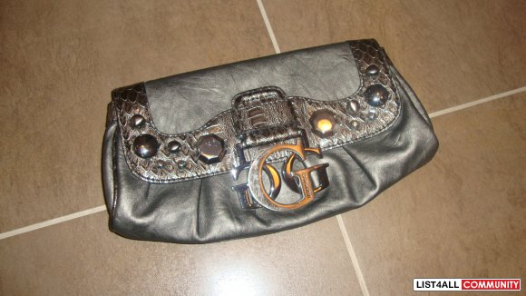 "GUESS CLUTCH GREY WITH SILVER ""G"" BUCKLE"