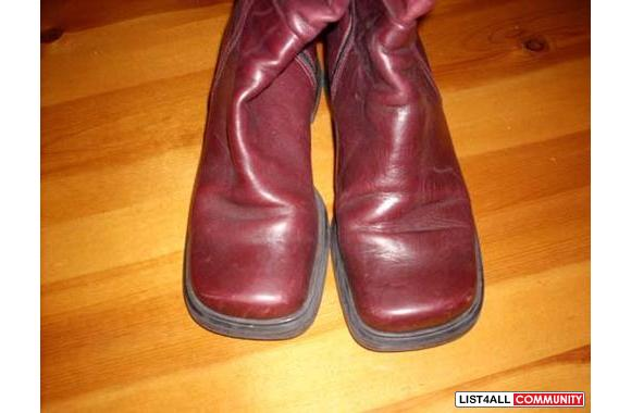 knee high leather zip up boots - size 36