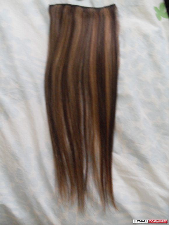 20 inches brown with blonde highlights real human hair extensions