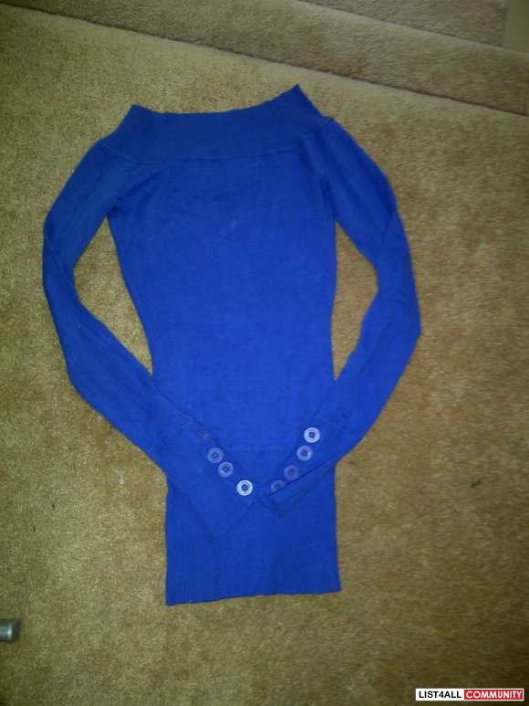 blue button sweater