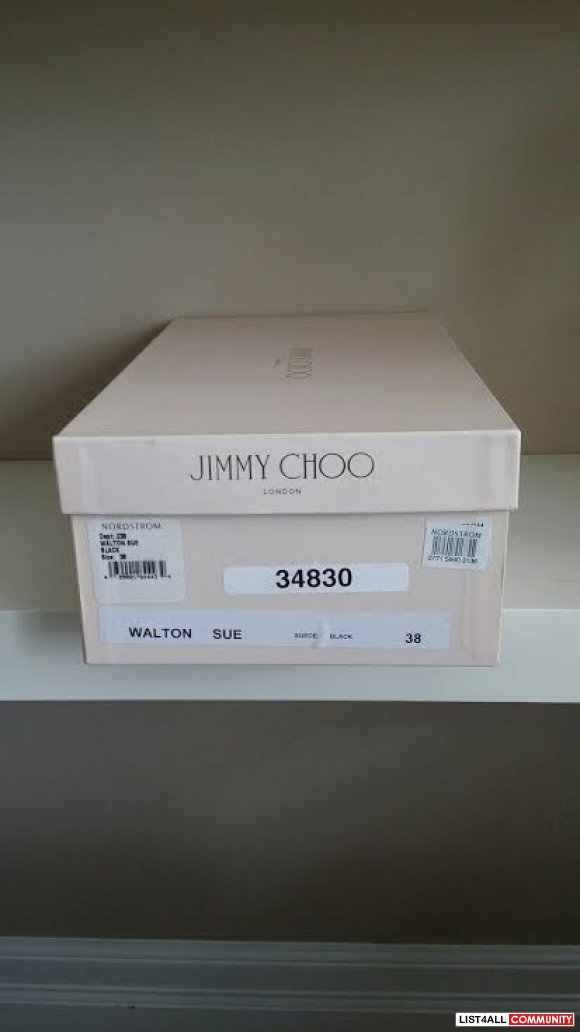 $650usd JIMMY CHOO Black Walter half d'Orsay Suede Flats 100% AUTHENTI