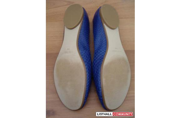 NINE WEST blue reptile print leather ballet FLATS SIZE 5 US