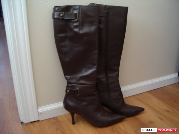 NINE WEST brown leather pointed toe low heel BOOTS SIZE 5 US