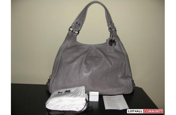 Coach Grey Leather Large Maggie - NWT