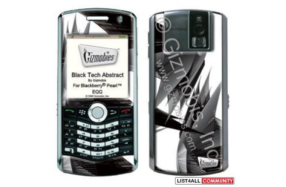 GIZMOBIES BLACK TECH ABSTRACT SKIN FOR BLACKBERRY PEARL 8130