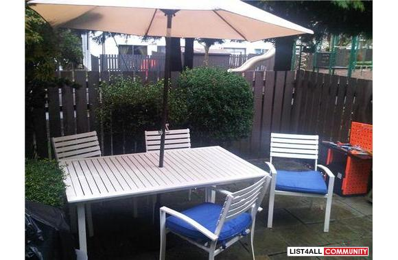Patio Set - white with blue cushions, aluminum, with umbrella and base