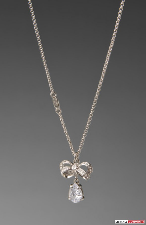Juicy Couture Icon Pave Bow Drop Necklace