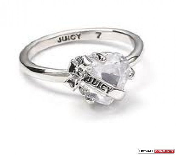 Juicy Couture - Wishes Faceted Heart W/Banner Ring (Silver)
