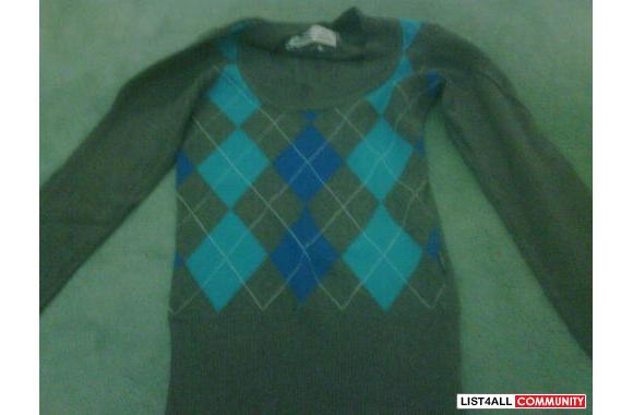 argyle sweater: size s, bought at garage