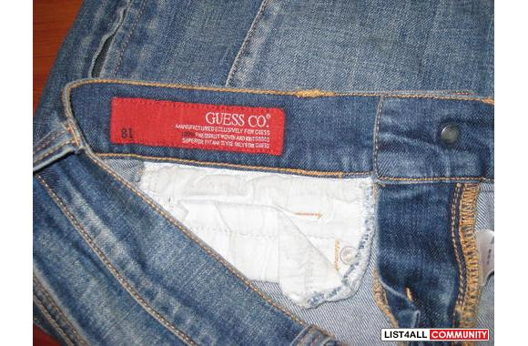 guess knee length jeans skirt