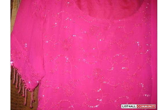 shocking pink bareeze shaffon suit fully embroided n beads work
