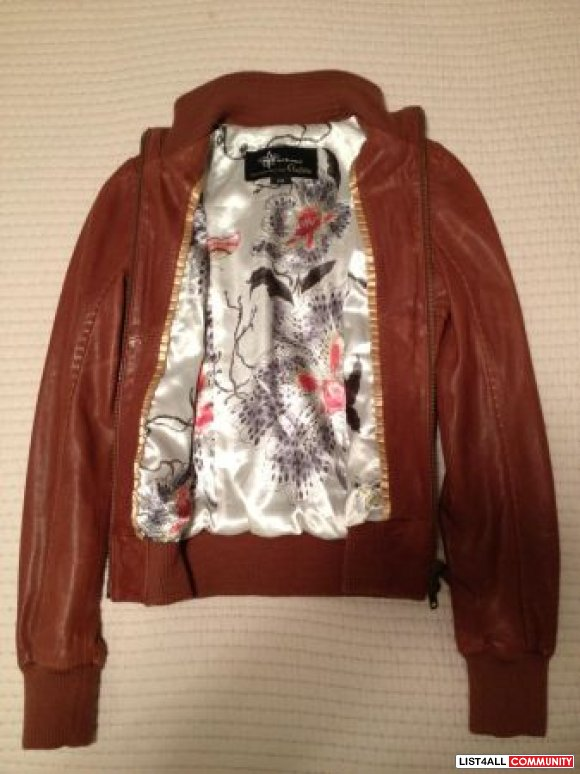 Mackage Jerry Aritzia leather bomber S brown