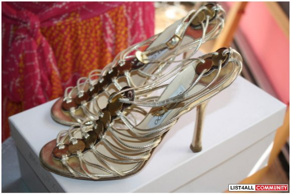 Authentic Jimmy Choo gold medallion strappy sandals 37