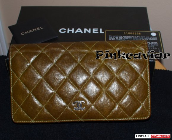 SOLD!  100% Authentic CHANEL Llama Glaze Quilted Wallet $700