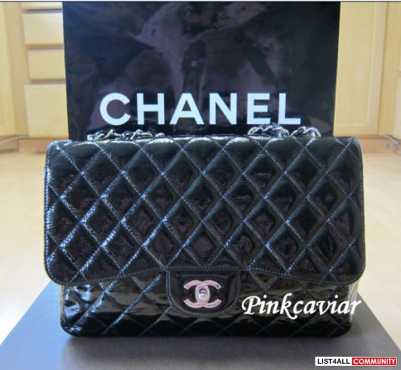 SOLD! 100% Authentic Chanel Jumbo Black Patent Flap