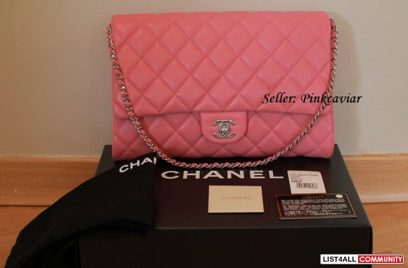 SOLD! Chanel Classic Quilted Clutch Flap Rose Fonce