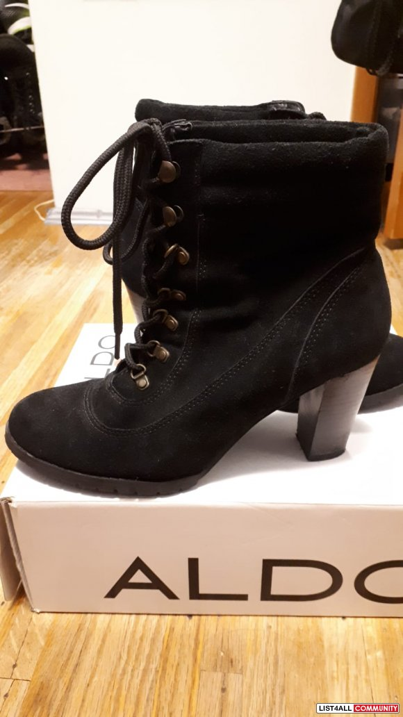 Black Suede Lace Up Booties SIZE 8