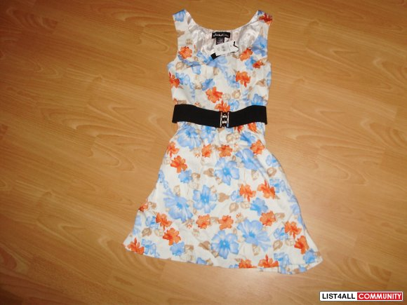 Floral Summer orange & blue flowers Skater Dress xs