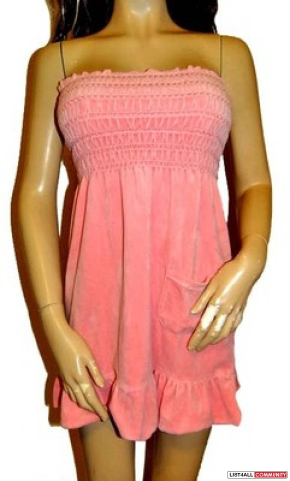 Auth Juicy Couture pink velour smocked tube dress beach sundress xs p