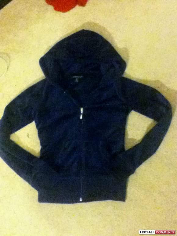 Navy velour hoodie jacket sweater size S looks like Juicy couture