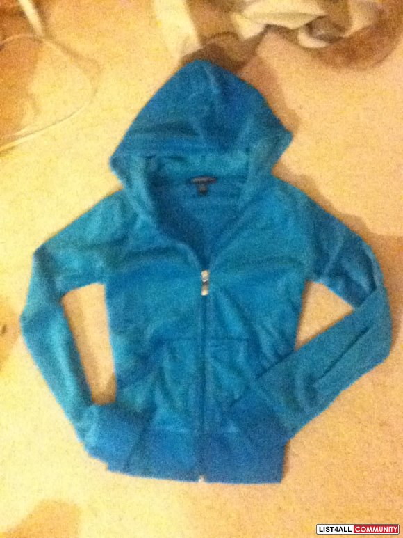 Teal velour hoodie jacket sweater  size S looks like Juicy Couture