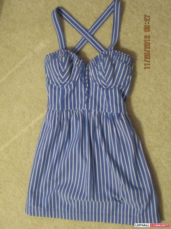 Abercrombie & Fitch Hollister Blue Striped stripe corset bustier dress