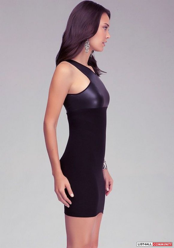 bebe crisscross halter leatherette leather bodycon black stretch dress