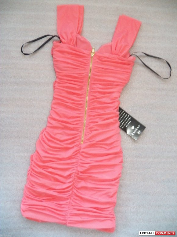 bebe crisscross knotted ruched sugar coral gold zipper bodycon dress