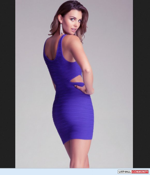 NWT bebe side cutout purple bodycon tank stretch bandage dress P/S