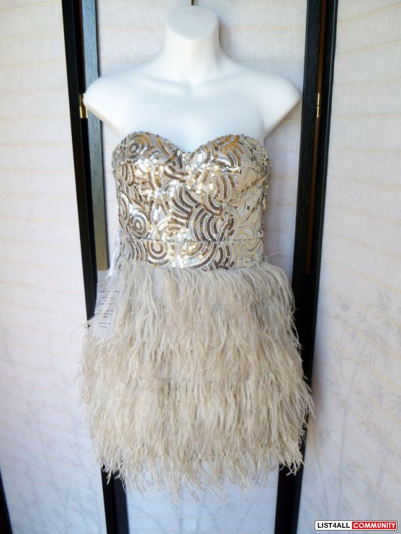 BEBE NUDE BEIGE STRAPLESS SWEETHEART SEQUIN ISIS FEATHER CORSET XXS