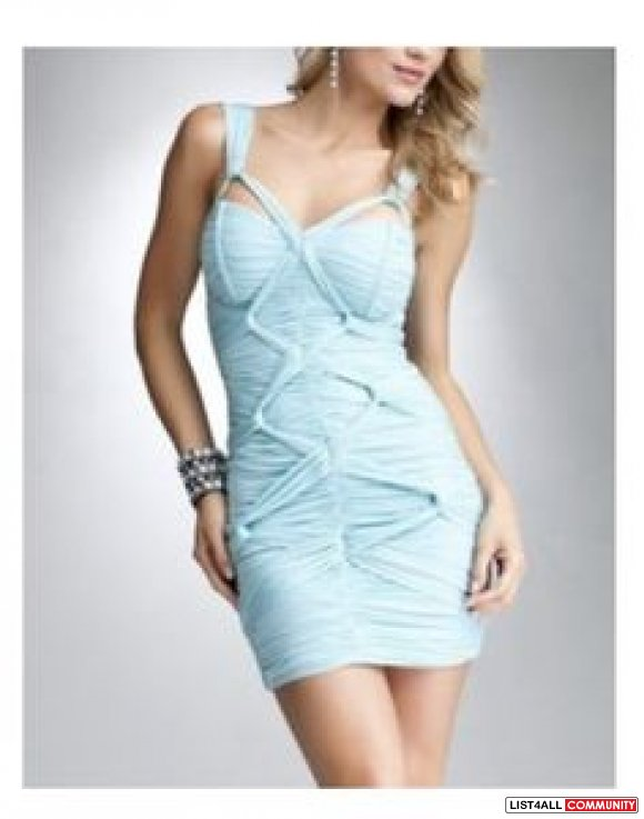 bebe crisscross knotted ruched baby pale blue bodycon dress XS