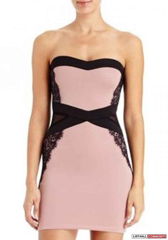bebe black pink dusty rose mesh cutout lace strapless bodycon dress S