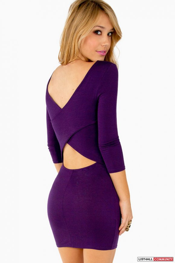 TOBI Around the back cutout cut out purple bodycon dress S