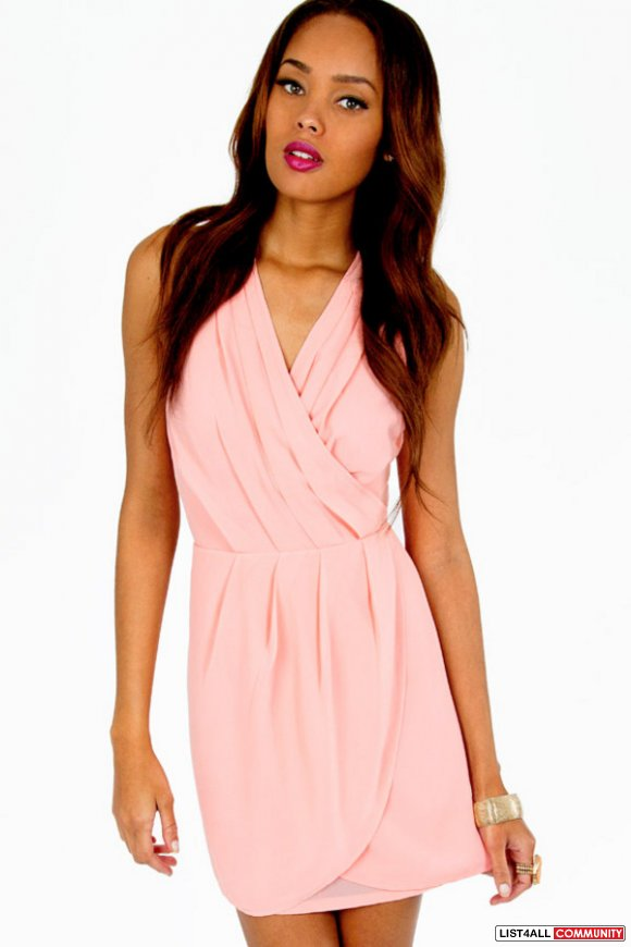 121b47cbc5 TOBI tink wrap dress pink blush chiffon halter S    prettystuff ...