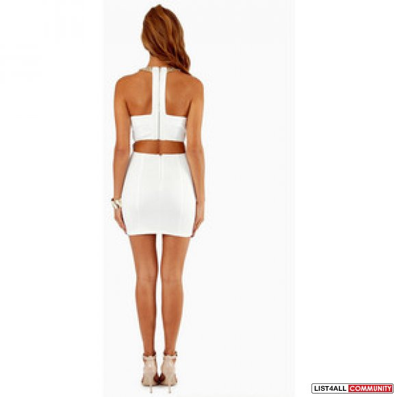 TOBI free flight dress halter white bodycon gold sequin back cut out S