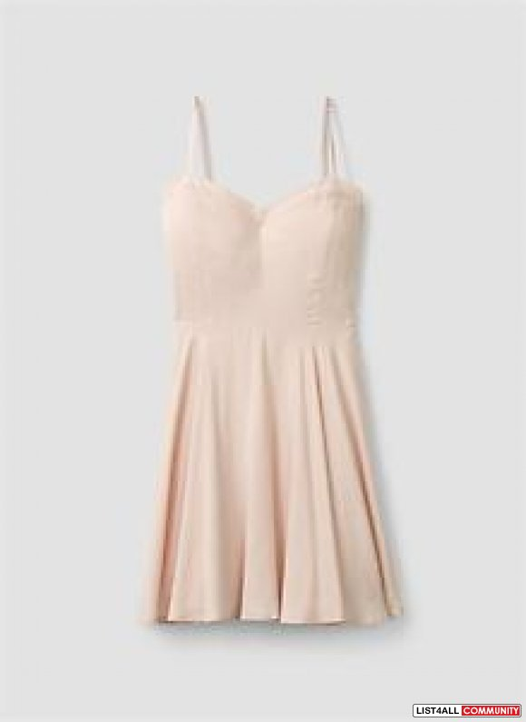 aritzia talula tna pale pink silk lipinski skater dress 4