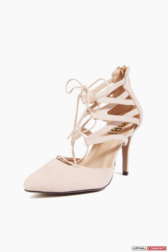 Tobi heels strappy nude pink gladiator sandals shoes lace up laces 6